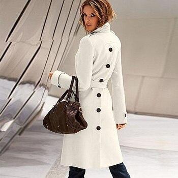 Women Long Wool Trench Coat 1