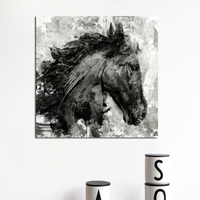 Abstract Art Posters and Prints Wall Art Canvas Painting Horse Head Ink Decorative Pictures for Living Room Home Decor No Frame