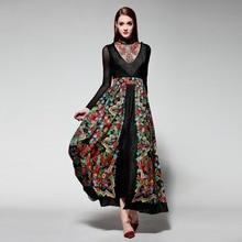 Летнее платье 2016 Украина Для женщин макси платье халат Лонге Femme с вышивкой и кисточками Большие размеры Для женщин одежда открытым Вилы Платья для вечеринок