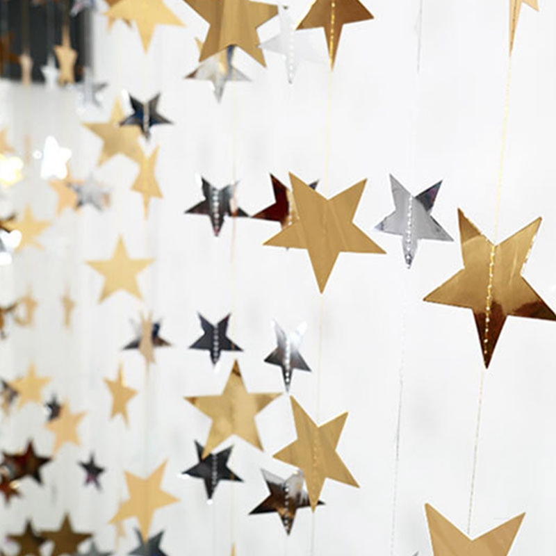 Mirror Gold Silver Star Christmas Ornaments Creative DIY Star Xmas Tree Pendant Decor Home New Year Party Window Garland Layout