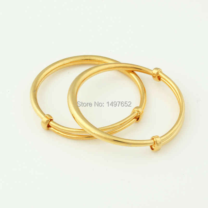 Fashion Dubai Gold Baby Bangle Jewelry For Boys S18k Color Ethiopian African Kids Bangles