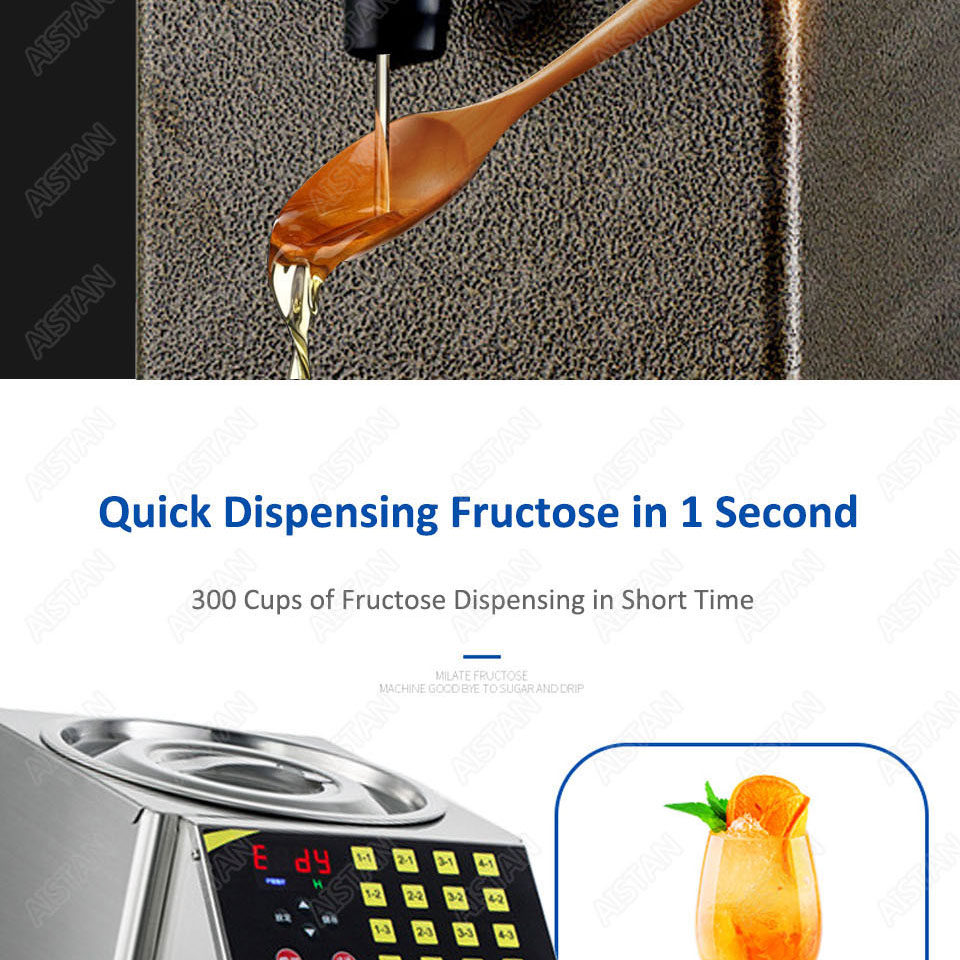 RC16 8L stainless steel commercial fructose quantitation machine for milk tea shop and coffee shop 4