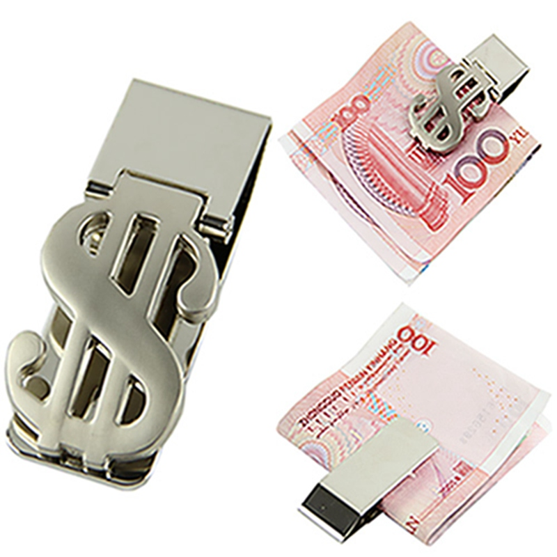 New Fashion High Quality Silver Dollar Design Slim Money Clip Stainless Steel Cash Bills Hot Unisex Women Man Solid Hard