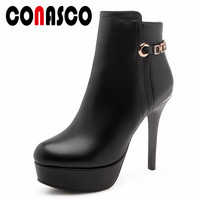 CONASCO Fashion Women Ankle Boots 12CM Thin High Heels Chains Wedding Party Shoes Woman Platforms Martin Boots Sexy Office Pumps