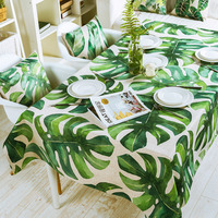 Pastoral Green Plant Linen Thick Pound Tablecloth Hotel Cafe Restaurant Living Wedding Villa Grass Room Square