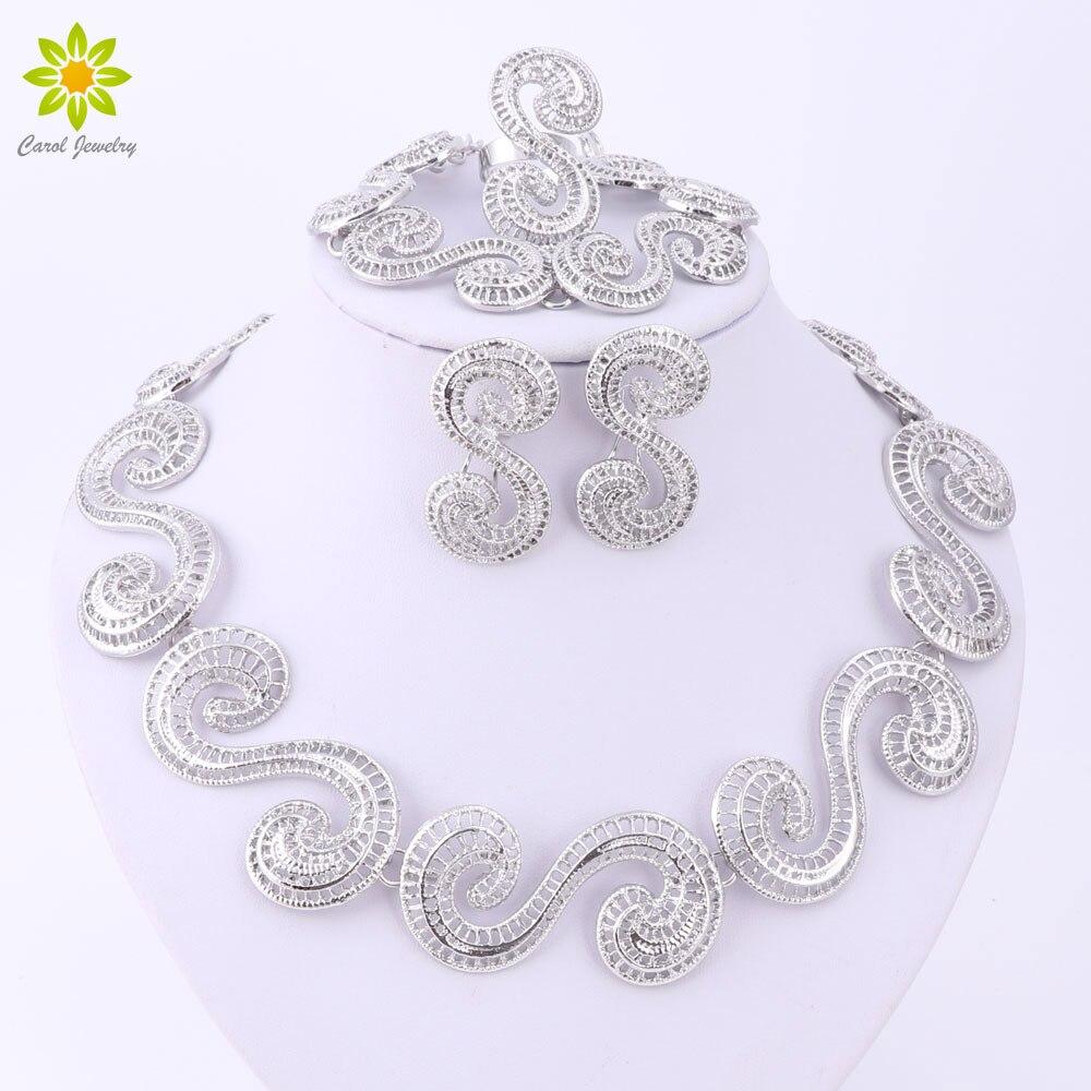 Schmuck Sets Afrikanischen Perlen Herzförmige Kragen Erklärung Silber Überzogene Halskette Ohrringe Set Für Frauen Vintage Party Zubehör Hochzeits- & Verlobungs-schmuck Brautschmuck Sets