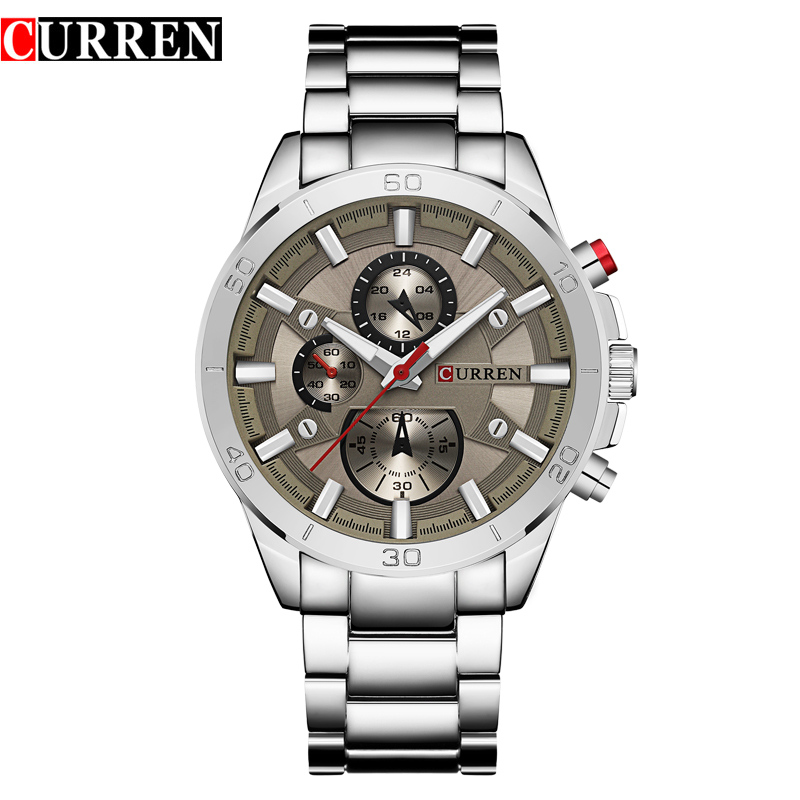 CURREN Top Brand Mens Watches Fashion Analog Military Sports Full Steel Waterproof Wrist Watch Male Clock Reloj Hombre man clock full stainless steel wrist watch for men top brand curren 8077 mens watches fashion quartz reloj hombre montre homme