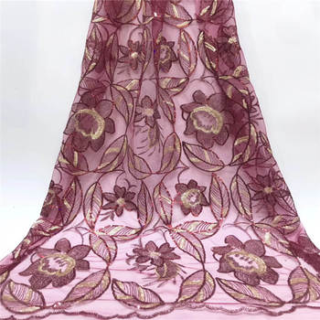 New African Sequins Rose Red Lace, Newest Organza Materials, Fashion Wedding Organza Dresses MR2637B
