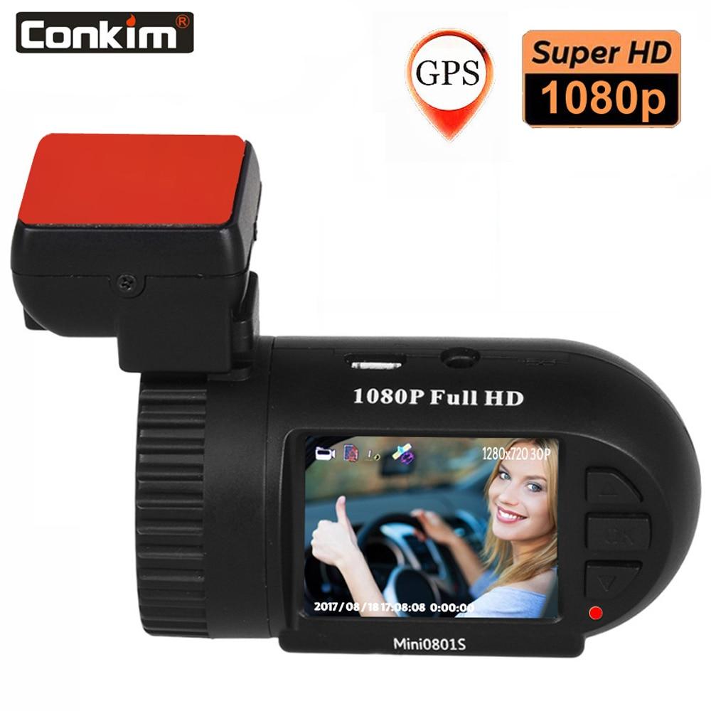 Conkim Car Camera Mini 0801S Upgrade 0801 1080P Full HD dashcam H 264 Dash Camera GPS