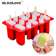 SILIKOLOVE DIY Frozen Popsicle Molds Silicone Freezer Ice Cream Mold Reusable Silicone Ice Pop Mold Lolly Moulds With Sticks цена и фото
