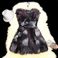 New Winter Women  Genuine Fur Vest With Belt Natural Silver Fox Fur Vest Medium Long Casual Slim Waistcoat Fashion Warm Vest