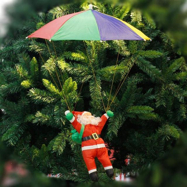 xmas tree ornaments 3d santa claus tree umbrella pendants hanging christmas decor for home office hotel - Umbrella Christmas Tree