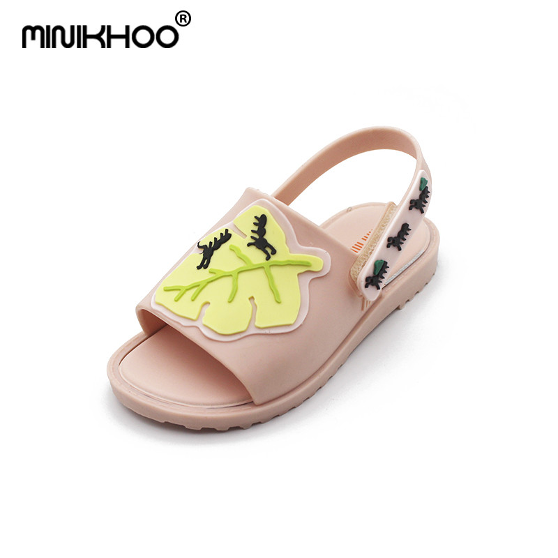 Mini Melissa 2018 New Ants Leaves Jelly Princess Sandals Shoes Anti-skid Cute Girl Princess Sandals Girls Jelly Sandals Melissa