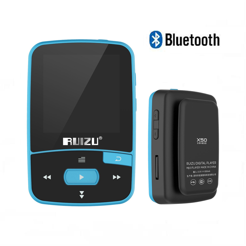 Ruizu x50 Sports Clip Bluetooth MP3 Player Mini Walkman Mp-3 8GB Support TF Card, FM Radio, Recording, E-book, Clock, Stopwatch