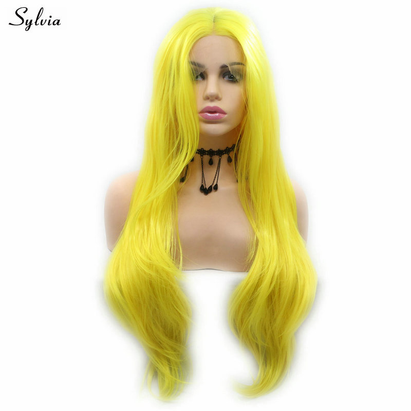 Sylvia 20-26inch Natural Wave Bright Yellow Wig Heat Resistant Hair Synthetic Lace Front Wig Drag Queen Makeup Party Cosplay Wig