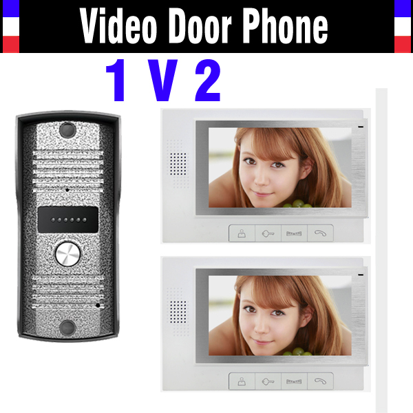 7 inch monitor video door phone intercom doorbell doorphones intercom Night Vision video door phone 2 Monitor 1 Door Camera