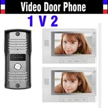 7 pulgadas Monitor de videoportero intercom timbre de interfonos de la visión nocturna del intercomunicador video de la puerta teléfono 2 Monitor 1 cámara de la puerta