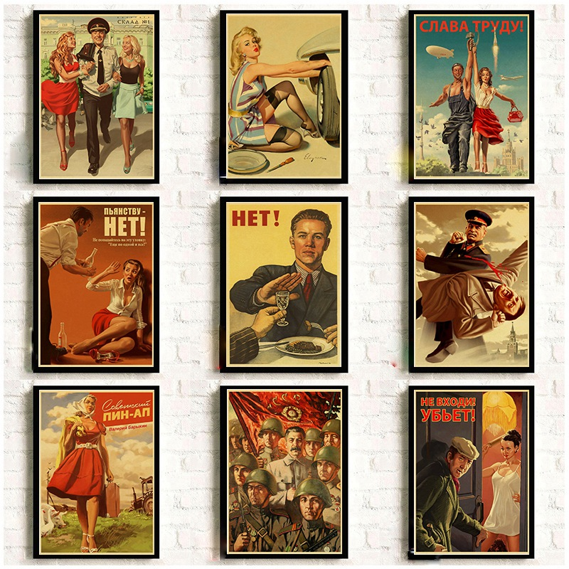 Stalin USSR CCCP Retro Poster Good Quality Printed Wall Retro Posters For Home Bar Cafe Room Wall Sticker