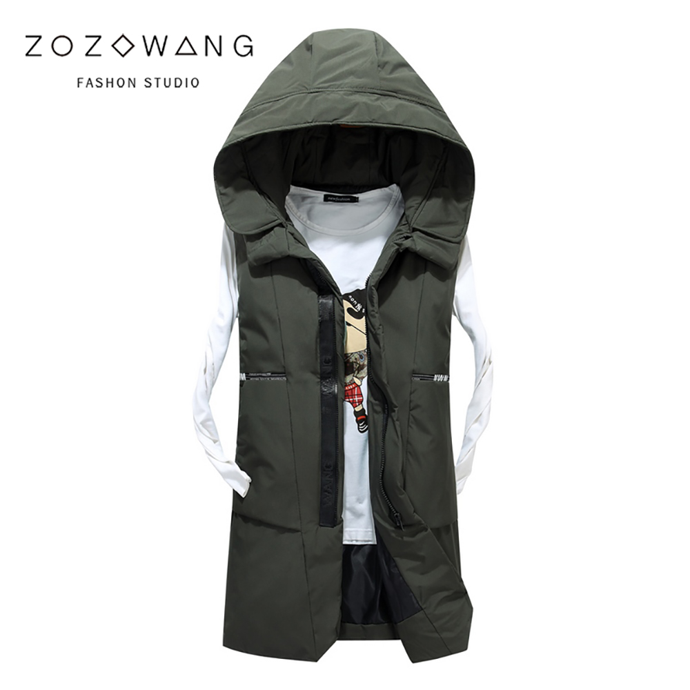 2019 Long Vest Men Plus Size 3XL Casual Autumn And Winter New Down Cotton Sleeveless Vest Male Hooded Thick Warm Waistcoat Men