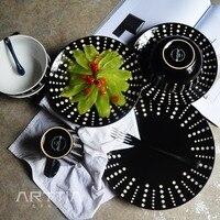 16 Pcs Black Dot Design Ceramic Dinner Sets 4 Mug 4 Bowls 8 Plates