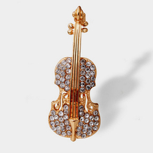 hot sell Pins Accessories Love lapel pins gold color Crystal Violin Scarf Brooches for Women Rhinestone Brooch wedding Broche
