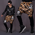 M-XL 2016 men's clothing trousers harem pants leopard skull print pants trousers big crotch pants low-rise pants singer costumes