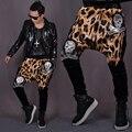 M-xl 2016 homens de roupas calças harém calças de leopardo crânio impressão calças calças calças de baixo crescimento calças grande virilha trajes cantor