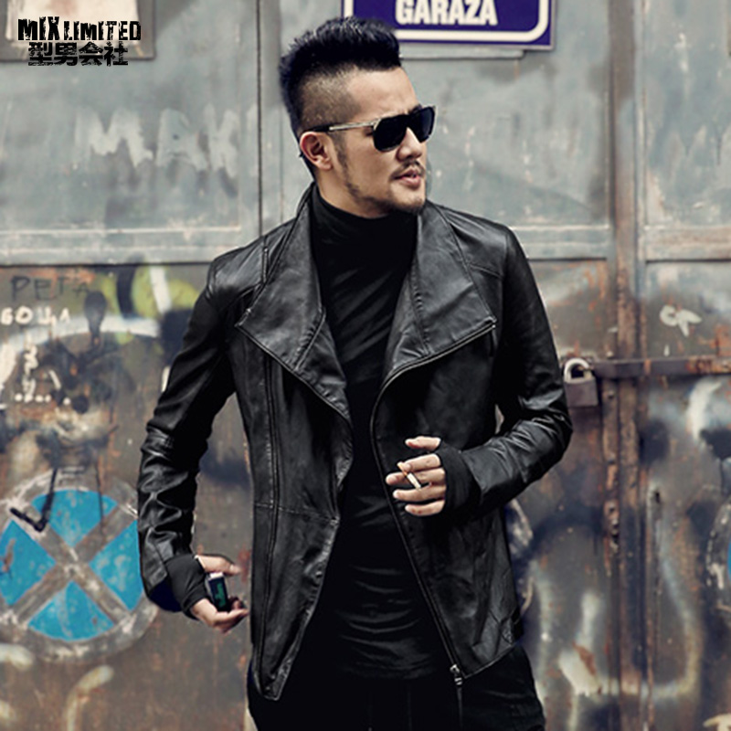 2018 Men new British style zipper genuine leather jacket sheepskin top quality fashion brand design men leather jacket casual