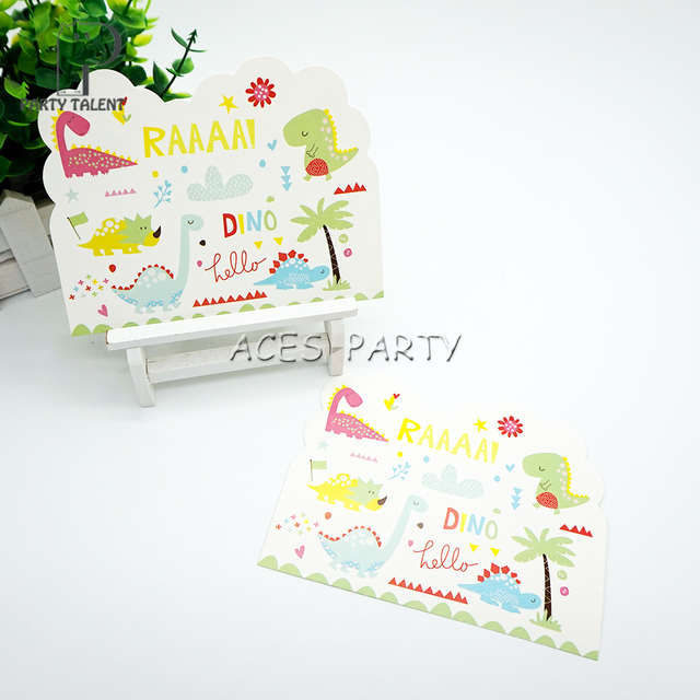 Party Supplies 8pcs Dinosaur Theme Invitation Card Invitations For Kids Birthday Decoration