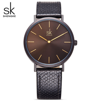 SHENGKE Women Simple Style Luxury Brand Quartz Watch Women Casual Luxury Brand Leather Watches Lady Hot