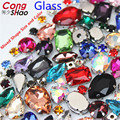 Cong Shao 50PCS/PACK Glitter Crystals Sew On Rhinestone With Claw DIY Colorful Dress Stones Mix Shape Glass For Garment CS1000