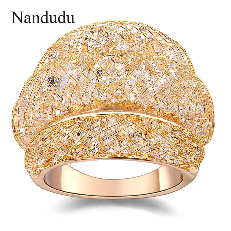 Nandudu Rose Gold Mesh Zircon Ring Hot Sale Fashion Jewelry Statement Rings Accessories Female Women Girlish Gift R561