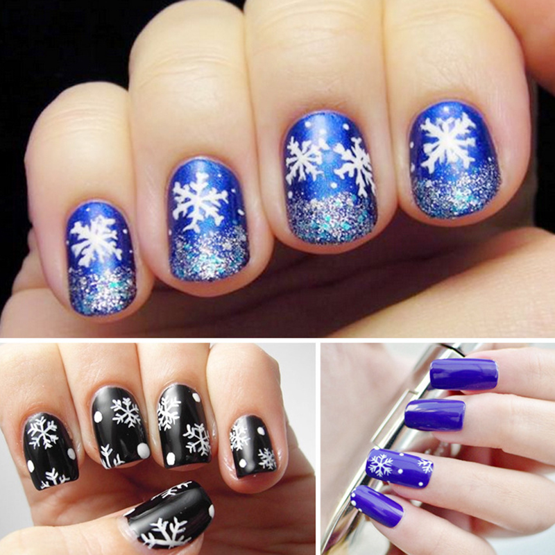 1 Roll Christmas Snow Series Nail Stickers Nail Art Decoration Decals Tips White Xmas Snow Nail Tool 4*120cm