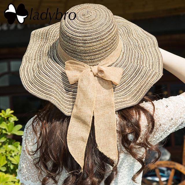 50787ca2 Ladybro Women Hat Wide Brim Hat Cotton Bowknot Female Beach Sun Hat Summer Striped  Foldable Floppy