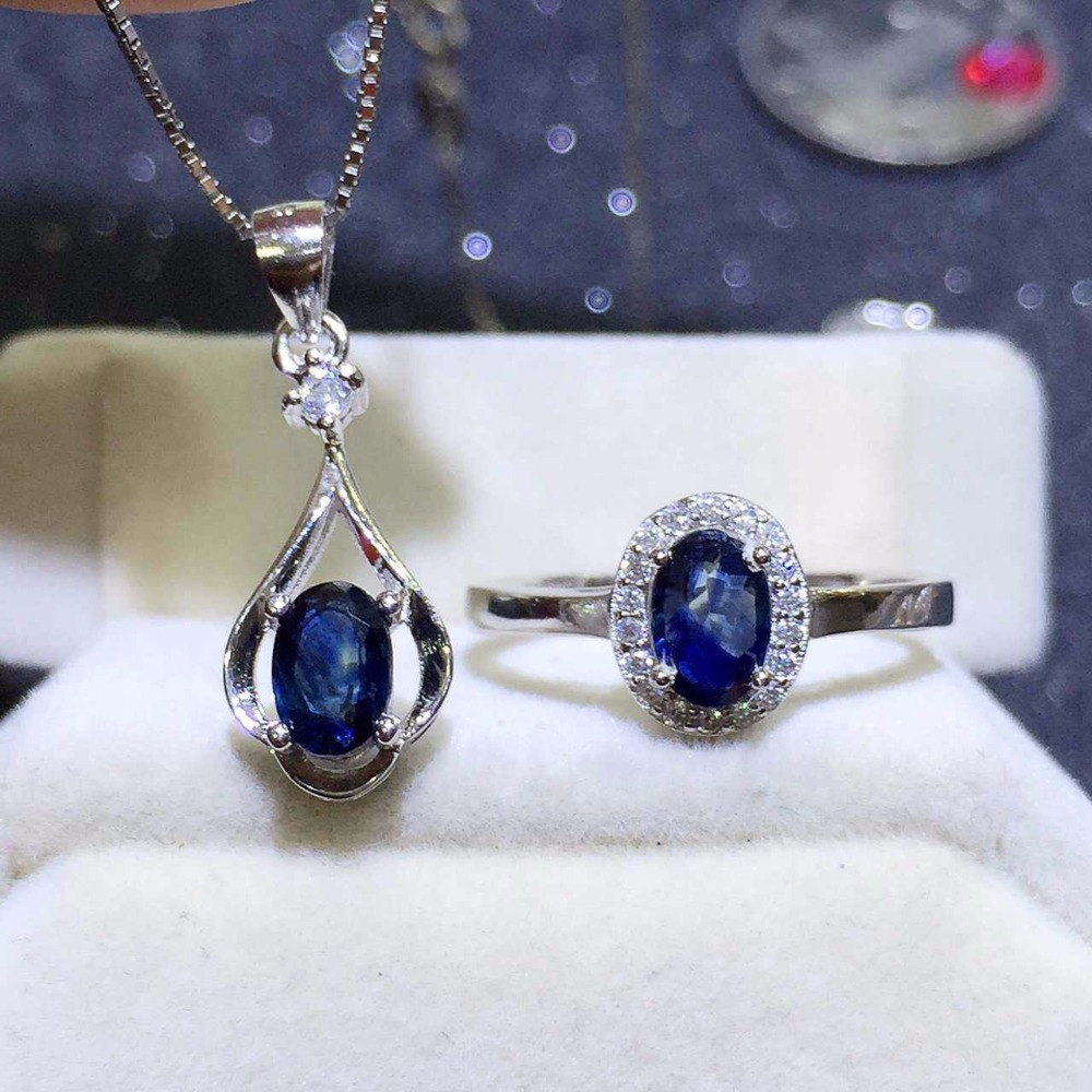 Shop promotion 925 silver natural sapphire suit ring necklace 0 5 carat per piece simple and