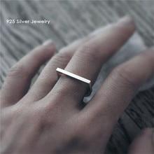 100% 925 srebro pierścionki dla kobiet Minimalis Office prosta konstrukcja pierścień Trendy doskonałe akcesoria do biżuterii Anillos Mujer