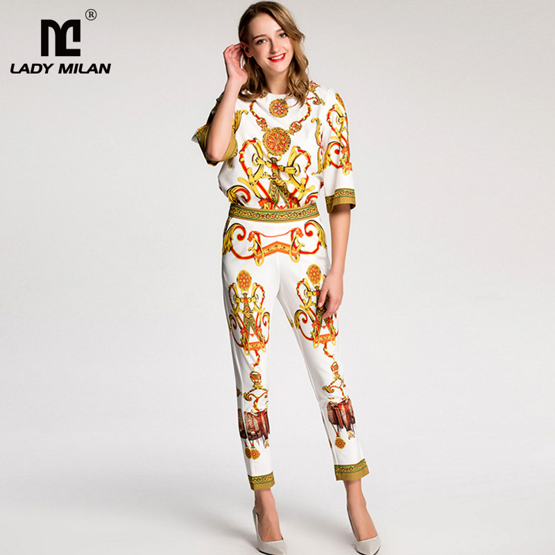 New Arrival 2018 Womens O Neck Short Sleeves Beaded Sequined Blouse with Printed Pants Fashion Two Piece Pants Sets