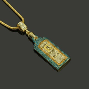 Image 5 - Collares grandes con diamantes de imitación para botella de vino, colgantes, estilo Hip Hop, Color dorado, para hombres y mujeres