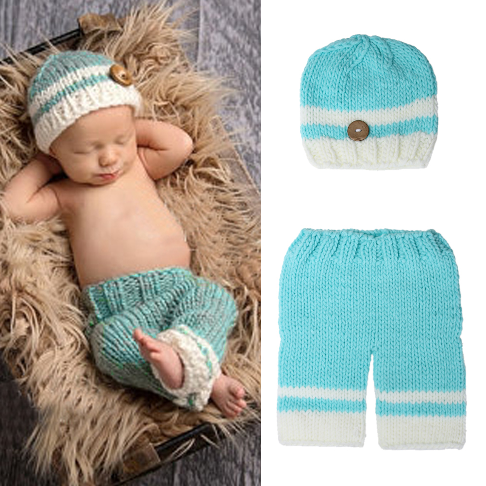 Baby Photo Props Newborn Baby Infant Birthday Party Cotton Crochet Knit Costume Hat Beanie Pants Photography Props 0 to 4 Months