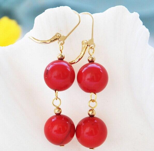 Vente chaude nouvelle-livraison shippinbg 12229 rond rouge corail perle balancent la boucle d'oreille