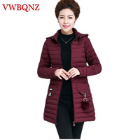 Large size Middle aged ladies Parka Cotton Hooded Coat Warm Slim Medium long Outerwear Solid Casual Female Winter Jacket 5XL 6XL