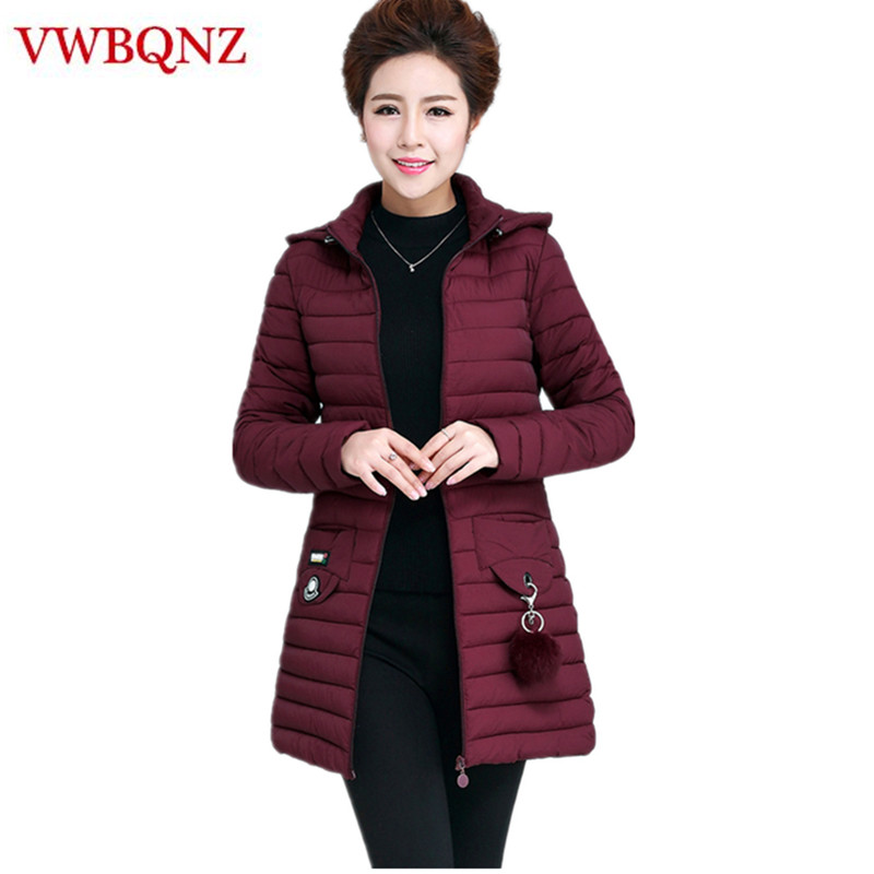 Large size Middle-aged ladies   Parka   Cotton Hooded Coat Warm Slim Medium long Outerwear Solid Casual Female Winter Jacket 5XL 6XL