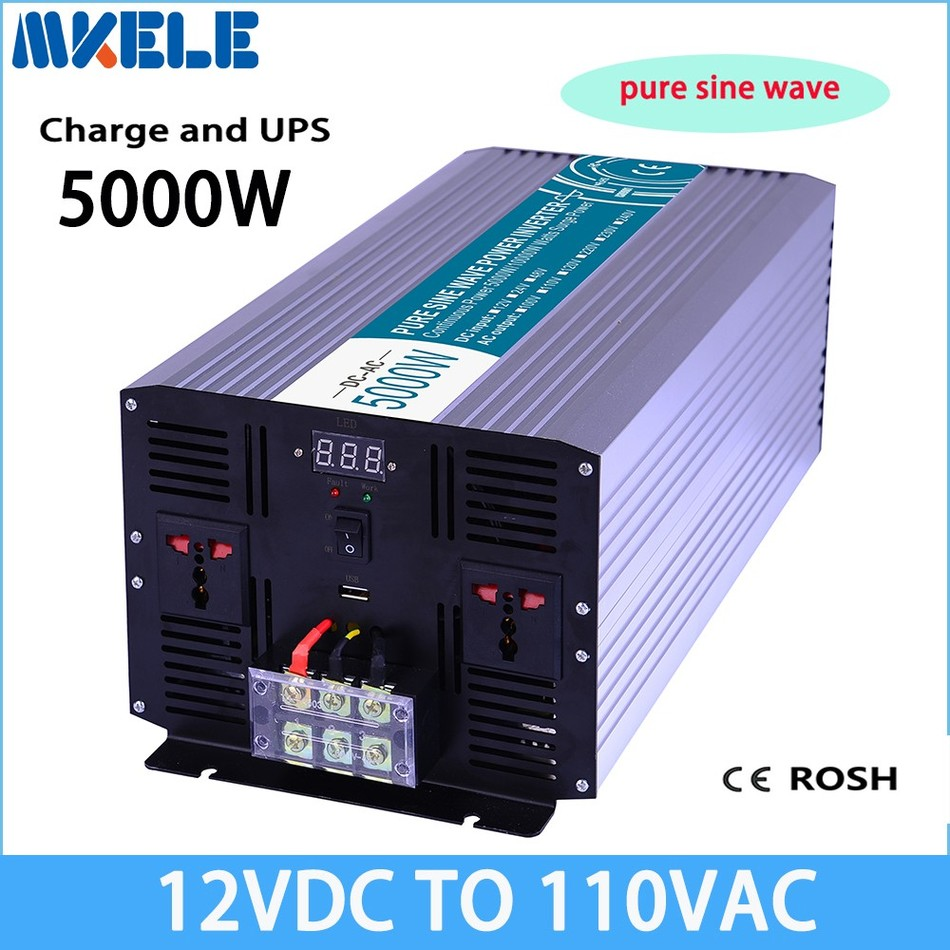 MKP5000-121-C pure sine wave off grid UPS inverter 5000w 12v to 110v solar inverter voltage converter with charger and UPS