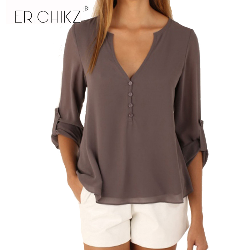 ERICHIKZ New Fashion Women Deep V Neck Button Long Sleeve Ladies Tops Chiffon Shirts Solid Elegant Top Casual Blouse