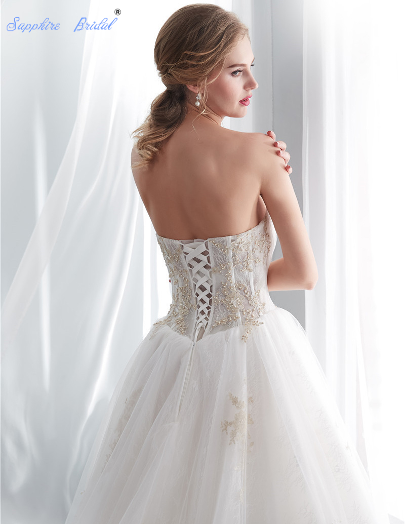 Sapphire Bridal Vintage Strapless lace Up White Ivory Gold Lace Long ... d704f41672b1