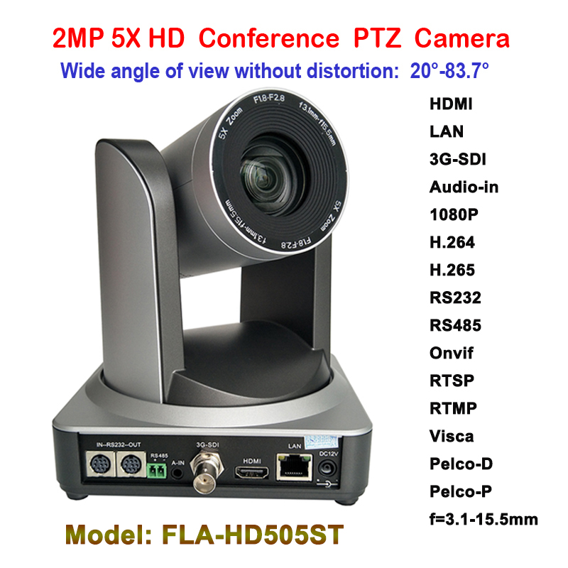 2MP PTZ 1080P 60fps IP Live Streaming Camera 5x Zoom 83 degree wide view with Simultaneous HDMI and 3G SDI Outputs