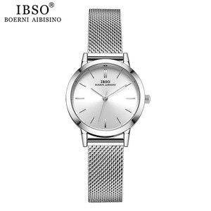 Image 4 - Часы наручные IBSO женские кварцевые, модные ультратонкие с сетчатым браслетом из нержавеющей стали, простые