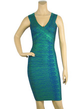 Shining Green Gold Red Foil bandage Dress