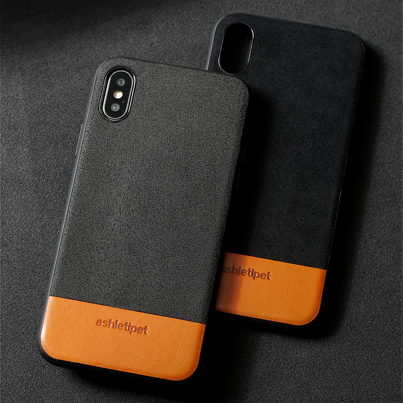 Genuine Leather Phone Case For iPhone X 7 7Plus 8 8Plus Case Suede and Cowhide Stitching Back Cover For 6 6S Plus 5c 5se 5Case