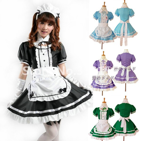 Japanese Anime Maid Performance Costumes Sweet Ball Gown Lolita Dress  Outfit Girls Gothic Restaurant Apron Maid Dress Uniform 158bf9bc331a